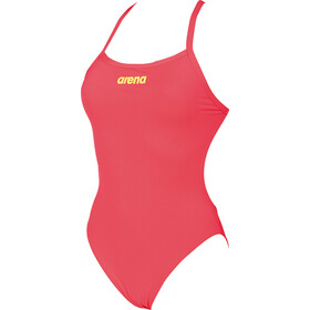arena Solid Light Tech High One Piece Swimsuit Dames, fluo red-soft green